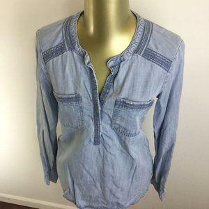 EDDIE BAUER Button V-Neck Long Sleeve Blue
